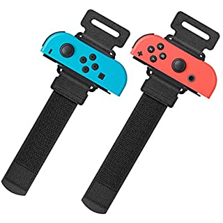Upgraded Wrist Bands for Just Dance 2020 Nintendo Switch, YUANHOT Adjustable Elastic Dance Straps for Switch Joy-Con Controllers, 2 Pack for Kids and Adults - Black