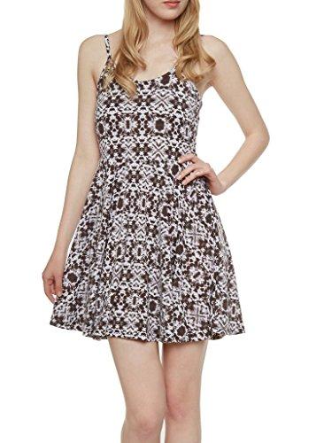 Love Collection Ladies Aztec Spaghetti Strap V-Neck Flare Dress, Black, Small