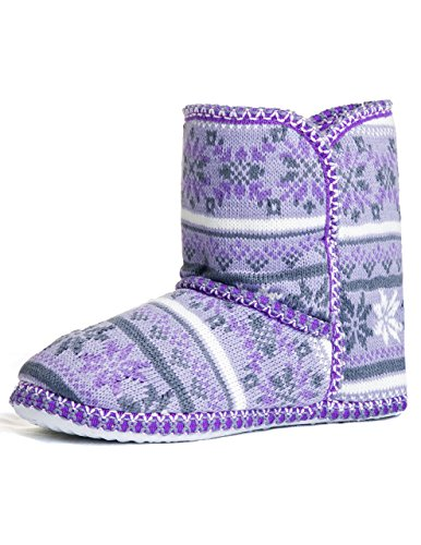 Caramel Cantina Foldover Winter Ankle Boot Slippers (5-6, Lavender)