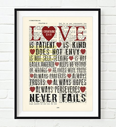 Love is Patient Love is Kind - 1 Corinthians 13:4-8 Christian UNFRAMED Art PRINT,Vintage Bible verse scripture dictionary wall & home decor poster, wedding gift, 5x7 inches