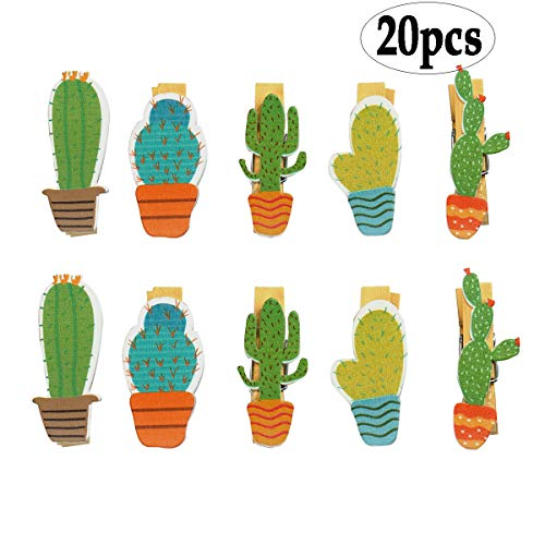 BinaryABC Cactus Wooden Photo Clips Pegs Clothespins Note Memo Card Holder,Hawaiian,Luau Summer Party Decorations (Clothespin Place Card Holders)