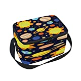 Use4 Cartoon Planet Solar System Sun Moon Insulated Lunch Bag Tote Bag Cooler Lunchbox for Picnic School Women Men Kids