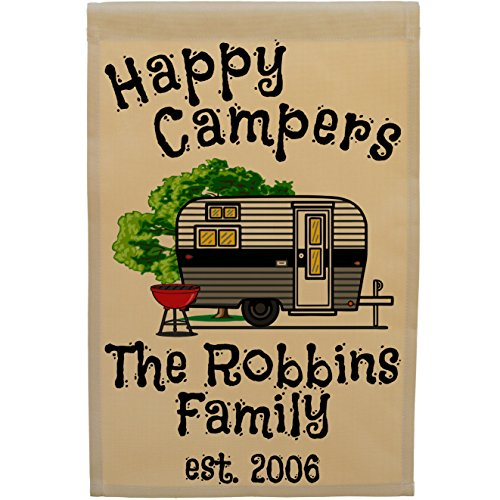 Happy Campers Personalized Campsite Welcome Sign, Garden Flag Only (Black/Gray Camper) (Campsite Signs)