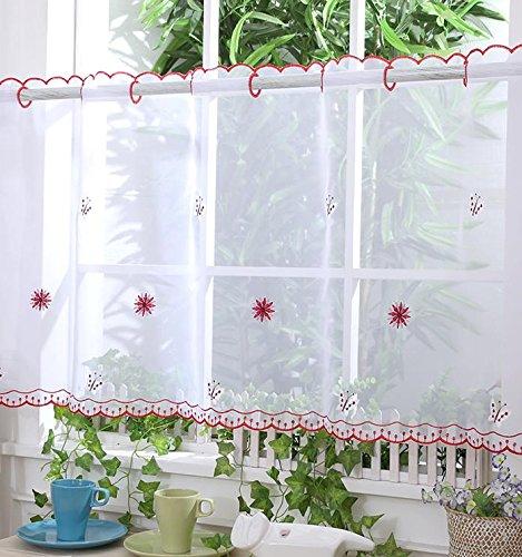 D17 Tendine da casa a velo, in rete, con motivo di farfalle e dettagli rossi, altezza di 30,5 cm Ian' s Emporium