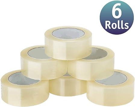 6 Pack] Cinta de embalar/cinta adhesivas - Cinta adhesiva de embalar varios colores y tamaños (48mm x 132m, Transparente): Amazon.es: Bricolaje y herramientas
