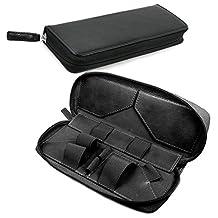 Tuff-Luv Vintage Faux Leather Luxury Travel Case & Refill Holder for E-Cig Box Mod Vape Pen - Black