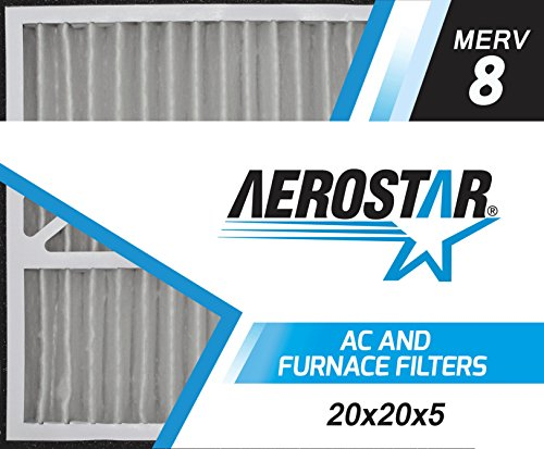 Aerostar 20x21x5 MERV 8, Pleated Air Filter, 20x21x5, Box of 2, Made in the USA