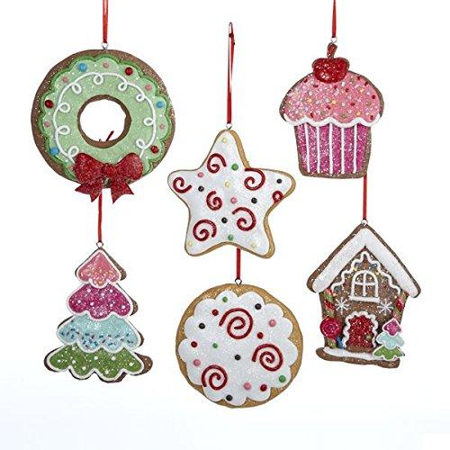 - Kurt Adler (6) Gingerbread Cut-out Cookies Christmas Ornament Set