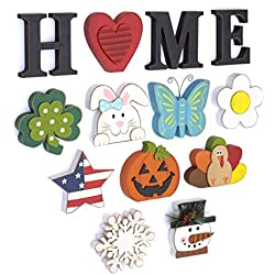 The Lakeside Collection 13-Pc. Wooden Decorative Home Signs with Letters, Pumpkin, Turkey and Snowflake