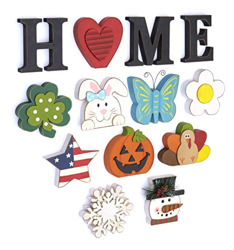 "The Lakeside Collection Wooden Decorative Home Signs with Letters, Pumpkin, Turkey, Snowflake - 13 Pc. - This 13-Pc. set of decorative holiday figures and signs is a fun and simple way to celebrate the time of year. Kids and children especially will enjoy getting to change the icon for each season. Features characters representing Thanksgiving, Halloween, Christmas, and all four seasons. Place on your mantel, counter, dining table or shelf when you're getting ready for the next season. A perfect housewarming gift, you can arrange the pieces next to each other to spell out ""HOME"". You can also replace the ""O"" with any one of 10 icons that represent the season. - living-room-decor, living-room, home-decor - 51apqPUWLgL -"
