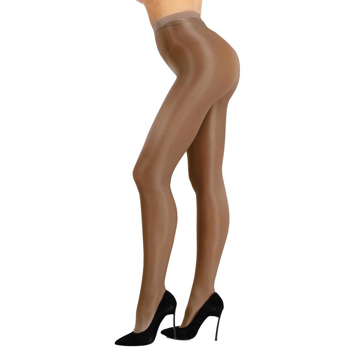 TiaoBug Femme Collant Brillant Legging Collant de Danse Bal Club Respirant  Collant Bas de Yoga Ballet Collant de Pole Danse Legging Café Taille  Unique  ... c8adce95b953