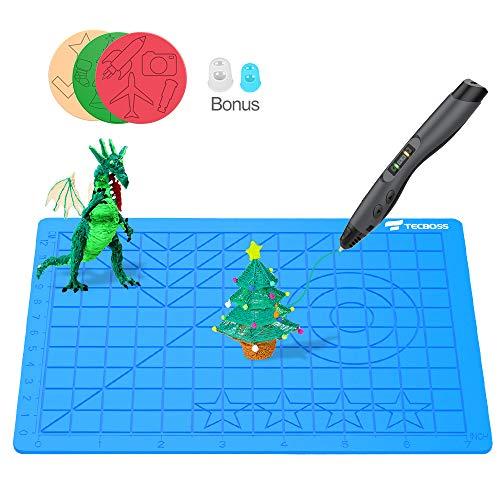 TECBOSS 3-D Printing Pens Mat, 3-D Pen Pad Silicone Template with Bonus 3 Patterns Mat 2 Finger Protectors - Tools for 3Doodler/MYNT3D Pen