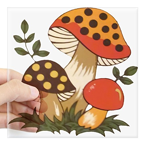 CafePress Merry Mushroom Sticker Square Bumper Sticker Car Decal, 3