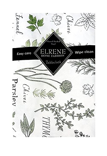Elrene Fresh Garden Herbs Parsley Sage Mint Vinyl Flannel Back Tablecloth (52x90 Oblong)