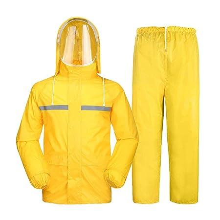 Amarillo Traje de pantalones impermeables Chaqueta ...