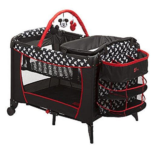 Disney Baby, Infant Play Yard, Play Pen With Changing Station (Mickey Silouette)]()