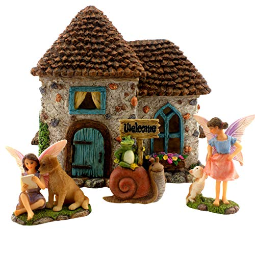 PRETMANNS Fairy Garden House Kit - Accessories with Miniature Fairies & Welcome Sign - Fairy House is 6