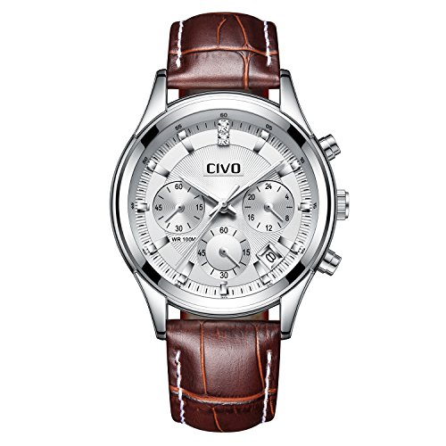 CIVO-Mens-Brown-Chronograph-Watch-Multifunctional-Date-Calendar-Luxury-Casual-Business-Analogue-Quartz-Wrist-Watches-with-Genuien-Leather-Band-Silver-Dial
