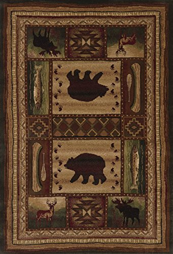 (United Weavers of America Designer Contours Collection Bear Wilderness Rug - 1ft. 10in.X 2ft. 8in., Multicolor, Rectangular Rug for Indoor Spaces)
