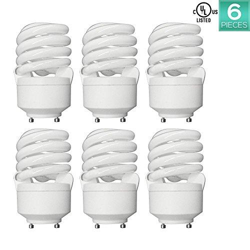 15w Warm White Cfl (Luxrite LR22310 (6-Pack) CF20 20-Watt CFL T2 Spiral Bulb, Equivalent To 75W Incandescent, Warm White 2700K, 1300 Lumens, GU24 Bi-Pin Base)