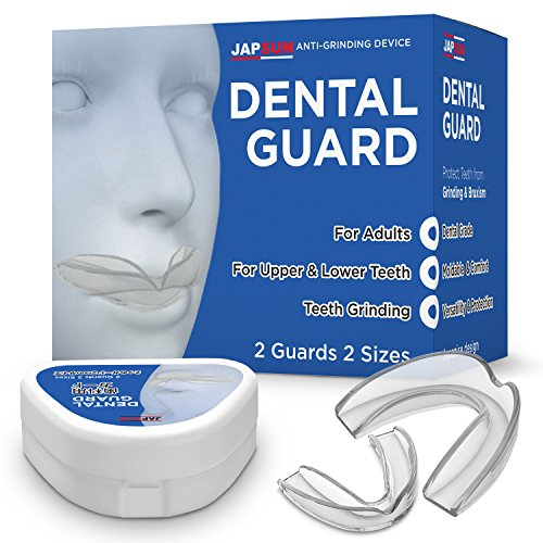 Japanese Standard Dental Mouth Guard with Anti-Bacterial Case - Custom Moldable - Pack of 2 Big and Small - Bite Splints for Sleeping - BPA Free
