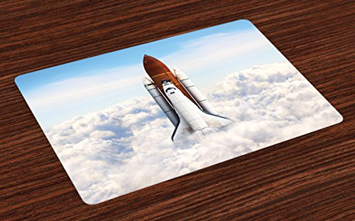 Ambesonne Outer Space Place Mats Set of 4, Rocket Taking Off on Mission Spaceman Planet Gazing Endeavour Power Print, Washable Fabric Placemats for Dining Room Kitchen Table Decor, White Blue Brown ()