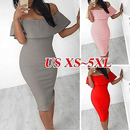 79c941498018 Amazon.com  ZX Women Midi Dress Elegant Sexy Off The Shoulder Summer ...
