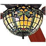 """52"""" Dragonfly Trellis Tiffany Stained Glass Ceiling Fan"""
