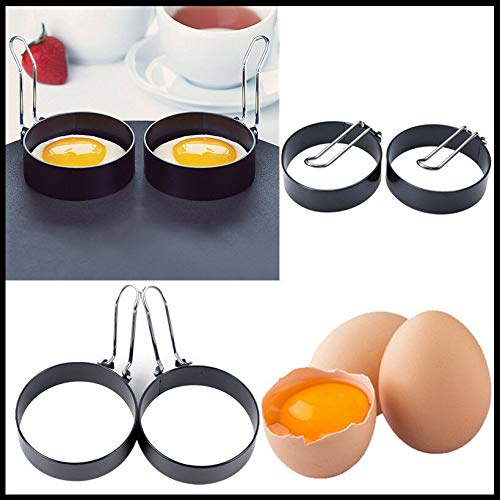 Round Egg Ring Fried Egg Pancake Mold Stainless Steel Handle Non Stick Egg Ring Mould Shaper for Frying Egg Kitchen Metal Egg Cooking Tool