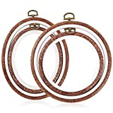 4 plastic embroidery hoop - Caydo 4 Pieces Embroidery Hoops Cross Stitch Hoop Imitated Wood Embroidery Circle and Oval Set for Art Craft Sewing and Hanging