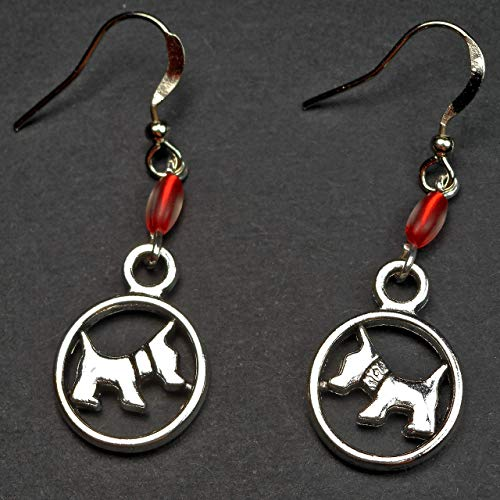 Dainty Silver Tone Scottish Terrier Charm and Red Glass Bead Dangle Earrings, Scottie Dog Lover Gift