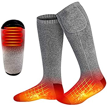 MISBEST Heated Electric Warm Thermal Boot Socks,Rechargeable Battery Powered Winter Foot Warmers,Winter Heating Sox Chronically Feet(Battery not Included) (Grey)