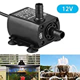 EEEkit 400L/H Ultra Quiet Flow Rate Brushless Motor Submersible Water Pump for Gardon Pool, DC12V 4M 10W