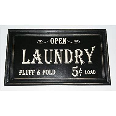 Open...laundry Fluff & Fold 5 Cents Load Vintage Look Framed Wood Sign (Black, 1)