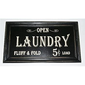 Open...laundry Fluff & Fold 5 Cents Load Vintage Look Framed Wood Sign (Black, 1) by Home Comforts