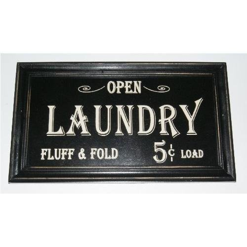 Price comparison product image Open...laundry Fluff & Fold 5 Cents Load Vintage Look Framed Wood Sign (Black,  1) by Home Comforts