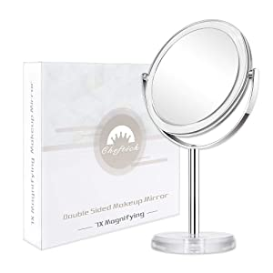 Cheftick Double Sided 1X & 10X Magnifying Makeup Mirror, Tabletop Magnified Vanity Mirror with 360 Degree Swivel for Bathroom or Bedroom, Transparent