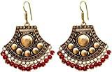 Sansar India Boho Oxidized Beaded Chandbali Indian Earrings Jewelry for Girls and Women
