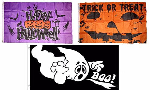 ALBATROS 3 ft x 5 ft Happy Halloween 3 Pack Flag Set #104 Combo Banner Grommets for Home and Parades, Official Party, All Weather Indoors Outdoors]()