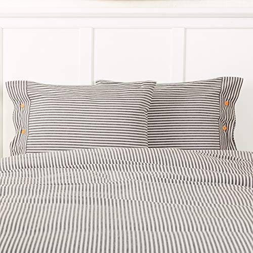 Piper Classics Farmhouse Ticking Gray Stripe Standard Size Sham, 21