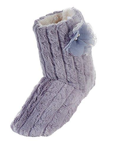 LA PLAGE Women's Tall Plush Winter Warm Indoor Boot Slippers,7-8 F(M) UK / 10-11 B(M) US,Grey ()