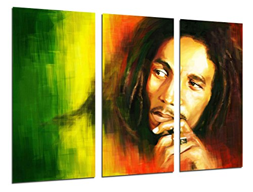Legends Furniture Contemporary Light - Cuadros Camara Multi Wood Printings Art Print Box Framed Picture Wall Hanging - (Total Size: 38 x 24.4 in), Bob Marley, Music Reaggie, Legends - Framed and Ready to Hang - ref. 26473