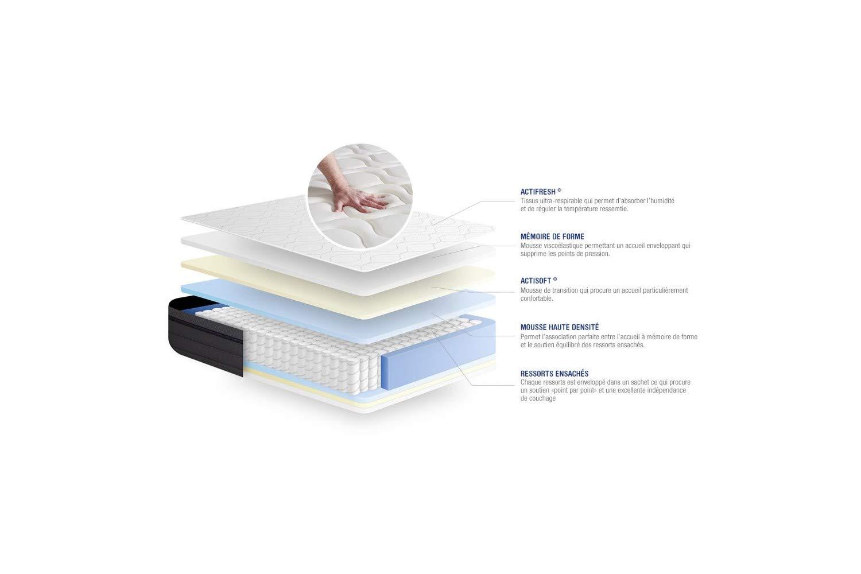 Confort : Equilibr/é Epaisseur : 26 cm Ensemble Matelas Ressorts ensach/és+M/émoire de Forme ACTIFLEX Zen 180x200 Maxi /épaisseur 7zones de Confort sommier KIT Blanc