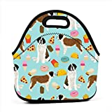 Reusable Lunch Bags Saint Bernard Dog Dogs And Junk Foods Tacos Fries Donuts Blue_734 Waterproof Insulated Lunch Portable Carry Tote Picnic Storage Bag Lunch box Food Bag Gourmet Handbag For School