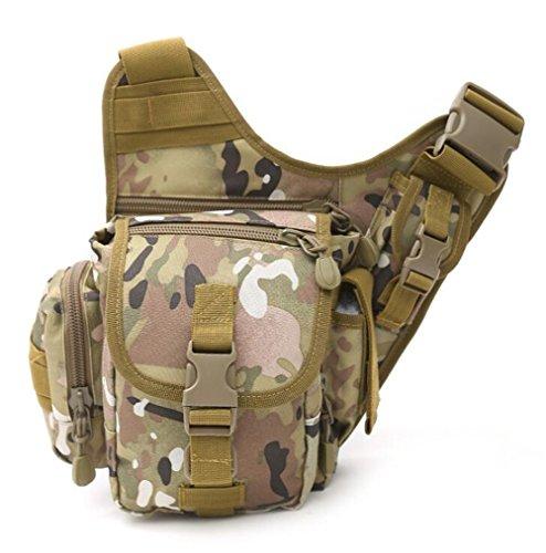 Wmshpeds Deportes al aire libre grandes portasilla hembra multi-funcional de las tácticas de camuflaje del ejército paquete super fans hombro bolsa bandolera hombres E