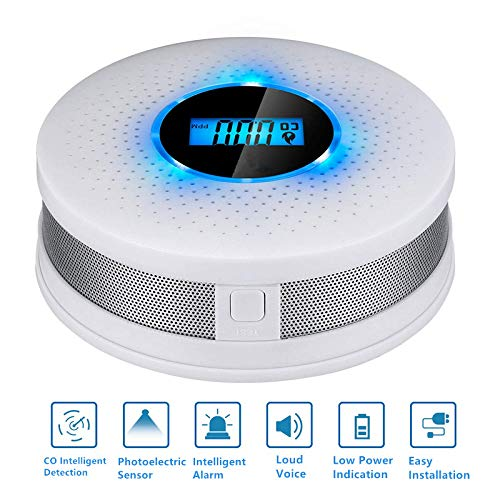 Upgraded 2 in 1 Carbon Monoxide Detector Alarm CO Gas Sensor Detector with Digital Display Alarm Clock Warning for Home (3 AA Battery not Included) (White)