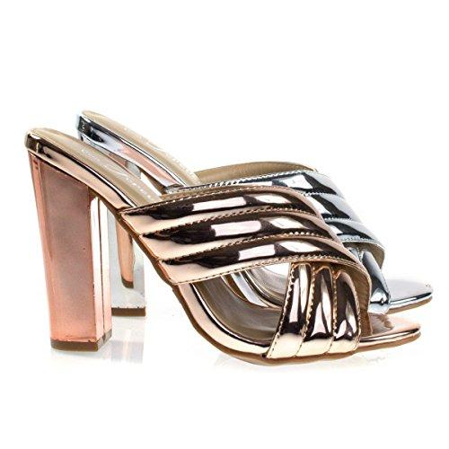 Shine91 Rose Gold Chunky Block Heel Slipper Mule, Metallic Party Sandal w Padded Straps -8