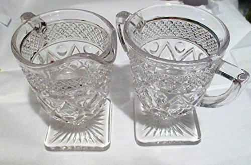 Imperial Pressed Glass Sugar and Creamer ()