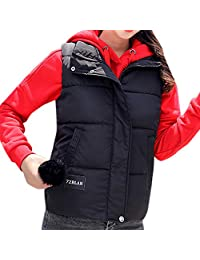 PENATE Women Slim Down Vest Girls Solid Jacket Winter Warm Hairball Cotton Coat