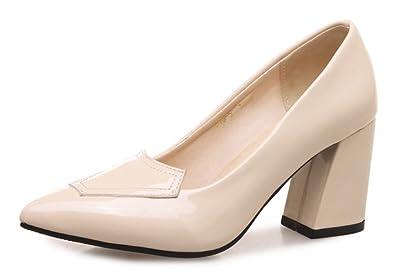 79937dd7be7 Aisun Women s Fashion Pointed Toe Burnished Low Cut Dressy Wear to Work  Slip On High Block
